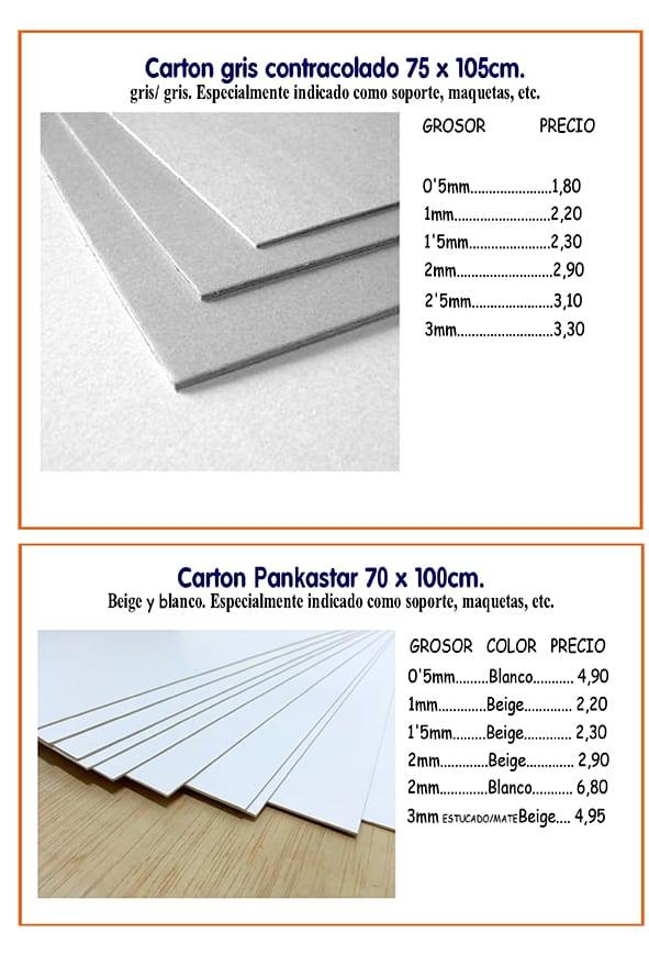 materiales rigidos CARTON CONTRACOLADO Y PANKASTER